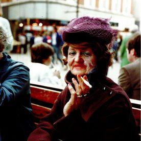 Shirley Baker - purple hat-