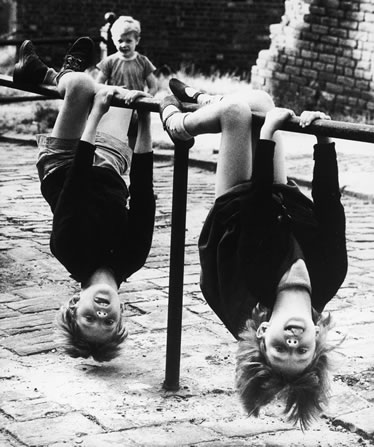 Girls upside down photo by Shirley Baker