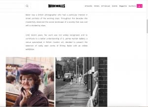 Widewalls arts website piece about Shirley Baker show